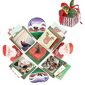 EKKONG Christmas Explosion Box, Kreative Überraschung Box DIY Geschenkbox DIY Faltendes Fotoalbum für Christmas, Valentine, Jahrestag, Heiratsantrag, Geburtstag, Hochzeit, Muttertag (Christmas)