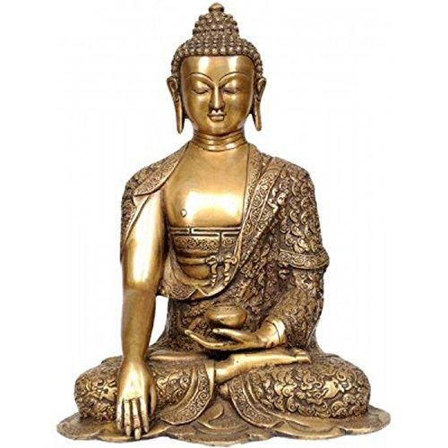 Idol Collections Bhumisparsha Mudra Buddha Brass Statue, Golden