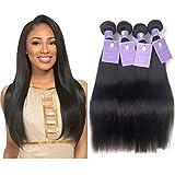 Natacee 12A Brazilian Human Hair Bundles Weave Straight Women Virgin Hair Extensions Weft UnprocessedFull Ends True Length, 24 inch Natural Black Color