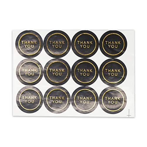 50 hojas (600 unidades) brillantes de oro de agradecimiento pegatinas redondas negras con sello adhesivo para envolver regalos, negocios, boda, fiesta, decoración DIY