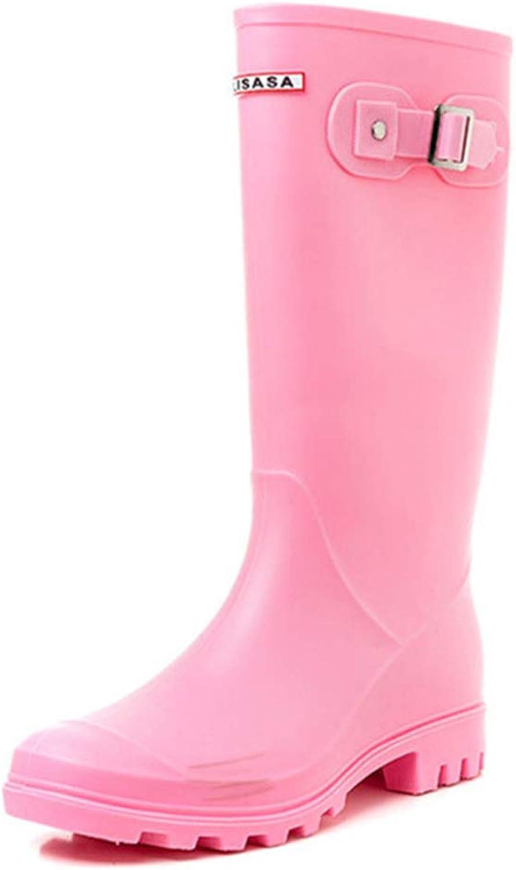 Women Waterproof Anti Slip Buckle Tall Rain Boot Outdoor Work Garden Snow Boots