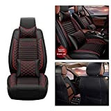 Front Car Seat Covers for Ford Mustang, Car Seat Cushions with Headrest and Lumbar Support, Car Seat Protector for All Season Black Red (2 Pack)