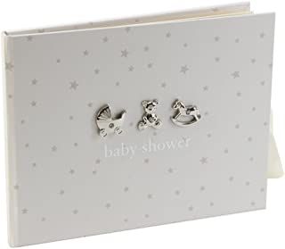 Neutral Colored Baby Shower Guest Book With 3D Silver Icons By Haysom Interiors