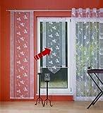 Gardinenking Kreta Fensterbehang Viora weiß Schiebevorhang Flächengardine Fenstervorhang fertig genäht mit Zierstange (140 cm hoch / 80 cm breit)