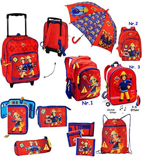 Belldessa Set _ Kinder Trolley ( Rucksack ) & Regenschirm -  Feuerwehrmann Sam  - wasserabweisend & beschichtet - für Mädchen & Jungen - Kinderschirm / Trolly mit Rol..