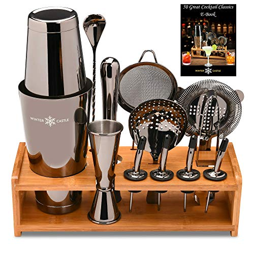 Black Pro Cocktail Shaker Set by WinterCastle-The 18 piece Ultimate Bartender Kit: Boston Shaker, Jigger, Muddler, Bar Spoon, 3 Strainers, 4 Pourers...
