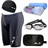 AthleX(アスレエックス) メンズ 水着 フィットネス 競泳水着 男性 スイミング ゴーグル 水中眼鏡 スイムキャップ セイムタオル セーム 大きいサイズ 5点セット (XL, ブラック)