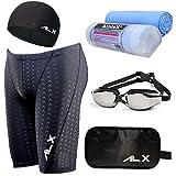AthleX(アスレエックス) メンズ 水着 フィットネス 競泳水着 男性 スイミング ゴーグル 水中眼鏡 スイムキャップ セイムタオル セーム 大きいサイズ 5点セット (4XL, ブラック)