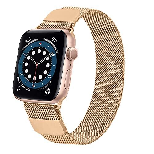 LINZHU Compatible con Correa Apple Watch 40mm 44mm 38mm 42mm,Metal Cerradura Magnética Pulsera de Repuesto de Acero Inoxidable Correa para iWatch Series SE 6 5 4 3 2 1(38mm/40mm,Oro Rosa)
