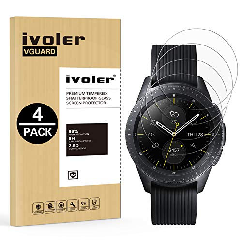 ivoler [4 Unidades] Protector de Pantalla Compatible con Samsung Galaxy Watch 42mm, Cristal Vidrio Templado Premium para Samsung Galaxy Watch 42mm [Dureza 9H] [Anti-Arañazos] [Sin Burbujas]