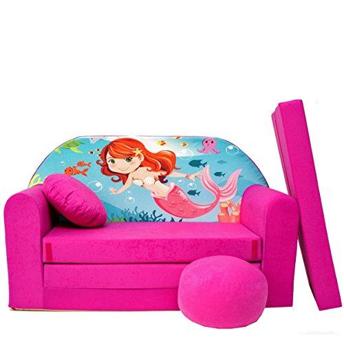 H4 + enfants Canapé ausklapp Bar Canapé-lit canapé Mini Basse 3 en 1 Ensemble pour bébé + Fauteuil pour enfant et coussin d'assise + matelas