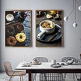 ciambella caffè tela pittura mirtillo avocado poster e stampe nordic per soggiorno wall art immagini decorazione 60x80cm/23.6x31.5x2 senza cornice