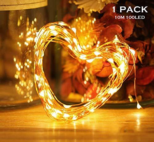 wasserdichte Lichterkette,10M 100 LED Lichterkette 8 Modi Außenbeleuchtung Batteriebetrieben Kupferdraht Wasserdichte mit Fernbedienung und Timer für Innen/Außen Weihnachten Dekoration, Warmweiß
