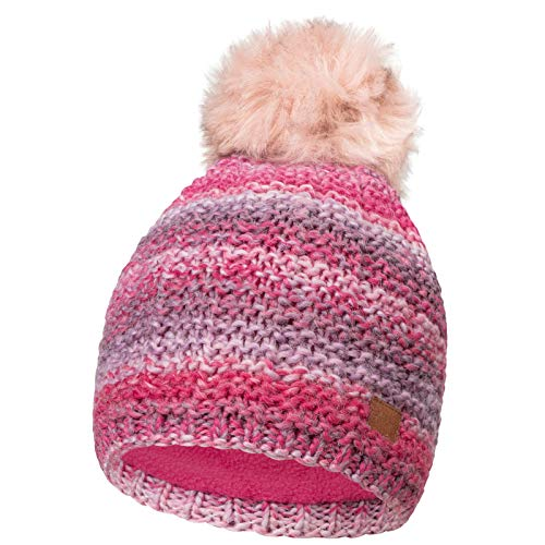 CLEOSTYLE Damen Wintermütze mit Kunstfellbommel Strickmütze Streifen 90 (Pink)