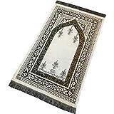 Alfombra bordada de algodón estilo candelabro para adultos (500 gramos)   Alfombra de oración musulmana – Tamaño: 118 x 70 cm – Color blanco en verde oliva
