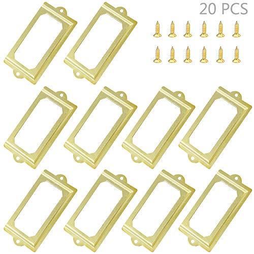 Juland 20 Stck Visitenkarte Etikettenhalter Frames Metallbüro-Aktenschrank legt Fach-Umbau fest Gelbe Bronze Ton mit Schrauben - 70 × 33 mm
