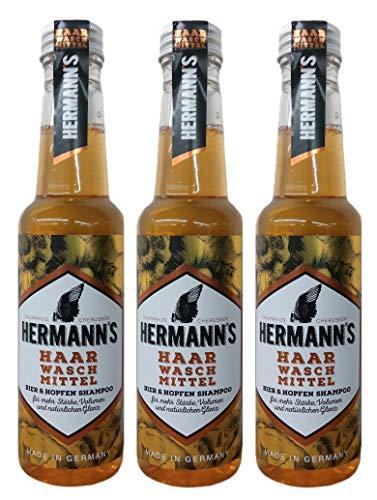 3er Bier & Hopfen Haarwaschmittel Hermanns für mehr Stärke Volumen und Glanz 250 ml