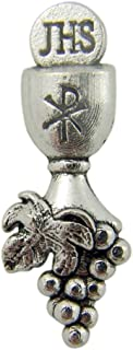 First Communion Silver Tone Chalice and Grapes Lapel Pin, 1 1/4 Inch