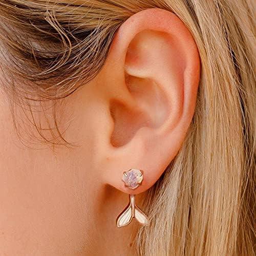 LEFUYAN Fin Ear Jacket Openwork Fishtail Earrings Retro Girl Gem-encrusted Rear-mounted Fishtail Stud Earrings for Women Girl