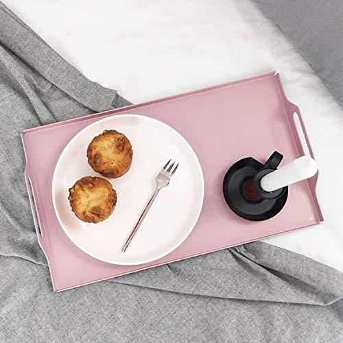 Jinyang Regal Desktop Metall Rechteck Butler Tablett mit Griffen, Größe: 30 * 20 * 5cm (schwarz) Jinyang (Farbe : Rosa)