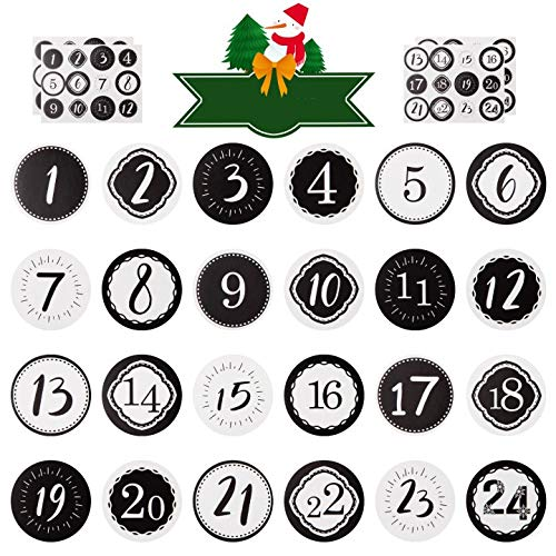 Kesoto 2 Pack Advent Calendar Number Stickers 1-24 Christmas Calendar Stickers for Crafting Christmas DIY Labels, Black and White