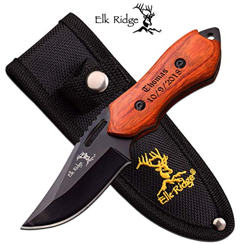 Elk Ridge Free Personalized Laser Engraved Pocket Knife Fixed Blade Knife (ER-562WD)