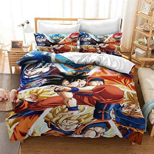 MXSS 3D Dragonball Z Goku Duvet Cover Set Soft Lightweight Microfiber Bedding Set 1/2 Pillow Shams and 1/2 Duvet Cover with Zipper Closure (Dragonball4,Single)
