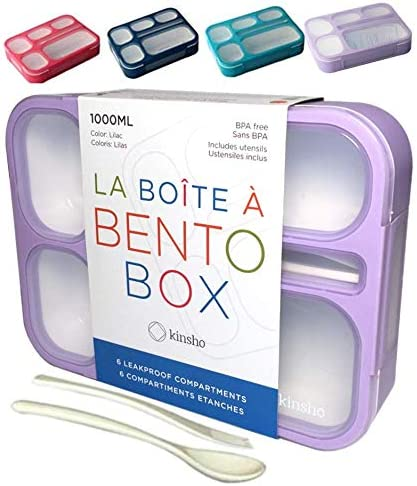 Bento Baltimore Mall Lunch-Box for Girls Women in Leakpro Purple 6 Compartment Chicago Mall