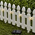The Lakeside Collection 6-Ft. Solar Border Fence Panel - Garden Landscape Edging Stake - White