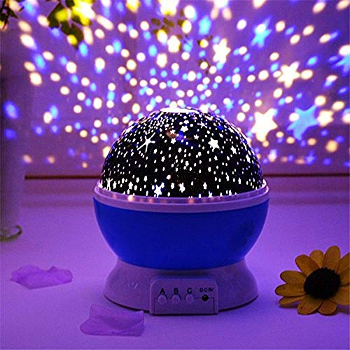 RAVIRANDAL Romantic Sky Star Master Night Projector Lamp with USB 9 Colour 4 LED Rotation Baby Sleep Lighting USB Lamp Led Projection for Diwali Decor,Kid's Room, Home Decor (Multicolour)
