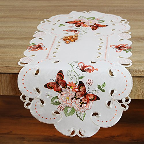 Kamaca Serie Lovely Butterflies bestickte Schmetterlinge und Blumen Filigrane Stickerei Eyecatcher in Frühling Sommer (Tischläufer 40 x 90 cm oval)