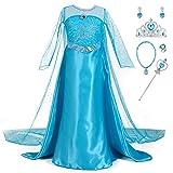 YONIER Costume da principessa Elsa per bambine,Set da Principessa Elsa Corona Bacchetta Gu...