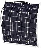 J & J Panel Solar de 50W 18V DC USB Dual 12V / 5V Cargador Solar Flexible para el Coche Barco y RV Carga de la batería