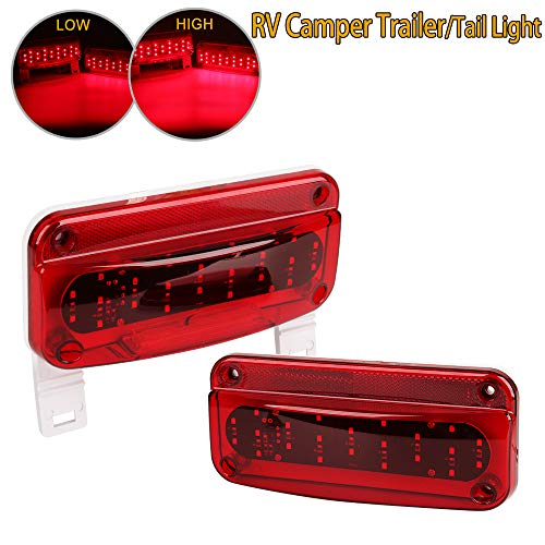 EXERAUO Led Tail Lights Rectangular RV Exterior Light 49 LED Camper Light Tail Lights with License Plate Holder RV Trailer Tail Light for Trailer Camper Tractor etc