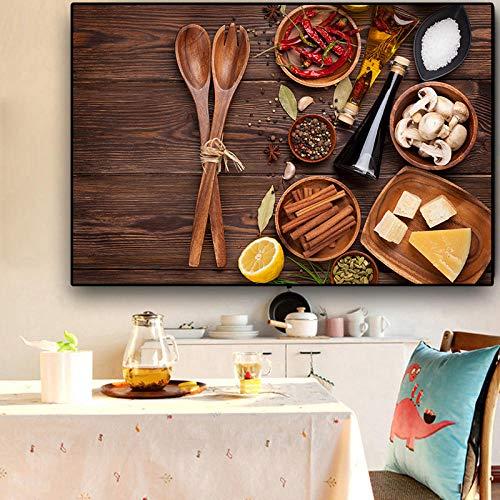 bajbajbaj1 Granos Especias Cuchara Cocina Lienzo Pintura Cuadros Carteles e Impresiones escandinavos Modernos Arte de la Pared Alimentos Imagen Sala de Estar Sin Marco