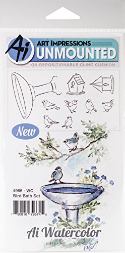 Art Impressions Watercolor Cling Rubber Stamps, Bird Bath