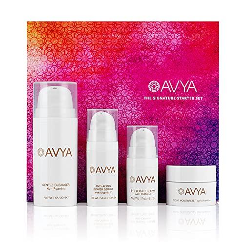Avya Skincare Discovery Starter Set | Anti-Aging | Gentle Cleanser (15ml) + Anti-Aging Power Serum (10ml) + Eye Bright Cream (5ml) + Night Moisturizer (10ml)