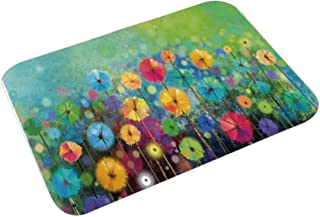 YOLIYANA Watercolor Flower Home Decor Kitchen Home Floor Mat,Dandelions Featured Garden Made with Brushstrokes Toned Landscape for Kitchen Home,23″ L×15″ W