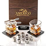 Amerigo Edelstahl Whisky Steine Geschenkset mit Whisky Gläser - Hohe Kühltechnologie - 8 Whiskey...