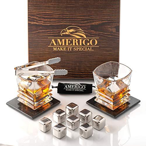 Amerigo Exclusieve Whiskey Stones Gift Set - Whiskey Glass Set + 8 RVS Herbruikbare ijsblokjes & 2 Luxe Onderzetters - Whisky Cadeaus voor Heren - Verjaardagscadeaus voor Hem - Whiskey Rocks + Ice Tongs
