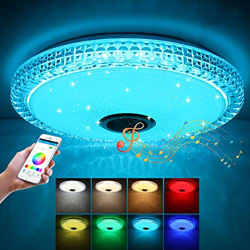 ABEDOE Led Ceiling Lights for Living Room, Bluetooth Ceiling Light with Speakers, 72W RGB Music Ceiling Light with Remote Control and APP Control, Led Ceiling Lights for Bedroom and More