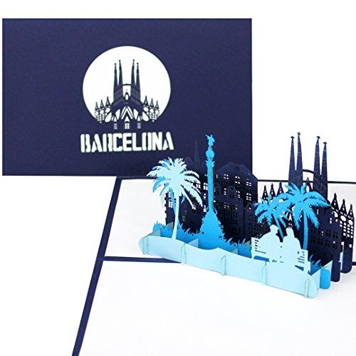"""Pop Up Karte """"Barcelona - Panorama mit Sagrada Familia"""" - 3D Grußkarte, Souvenir, Einladung, Geschenk & Reisegutschein zum Spanien Urlaub & Städtetrip"""