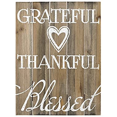 Malden International Designs Rustic Wall Sign Grateful, Thankful, Blessed Silkscreened Pallet Wood Sign, 12x16, Barnwood