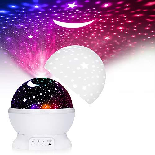 ASANMU LED Lámparas Proyector Infantiles, 360° Rotación Proyector Estrellas Bebés 12 Modos Proyector de Estrellas Luz de Nocturna para Niños, Luces Decorativas Habitacion para Día de San Valentín