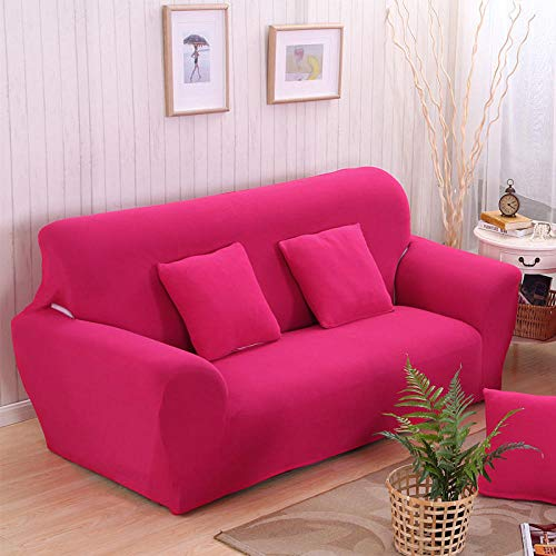 Allenger Forro de Sofá Doméstico,Funda de sofá elástica de Color Puro, protección Antideslizante para Muebles y Funda antiincrustante, Lavable-Rose Red_145-185cm