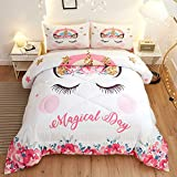 Namoxpa Cute Flower Unicorn Kids Bedding White Pink Golden Ears Unicorn 3 Pieces Bedding Comforter Sets Gifts for Teens and Girls,Queen Size