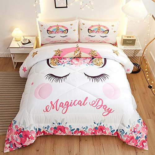 Namoxpa Cute Flower Unicorn Kids Bedding White Pink Golden Ears Unicorn 3 Pieces Bedding Comforter Sets Gifts for Teens and Girls,Twin Size