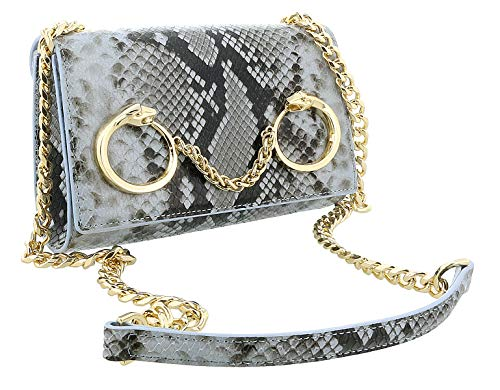 Roberto Cavalli Class Light Blue Snakeskin Textured Millie Deluxe Small Clutch for womens