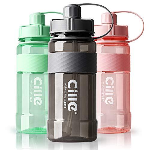 Trinkflasche 1L Wasserflasche Sportflasche für Fitness, Wandern, Camping, Outdoor-Sportarten Flaschen aus BPA frei, Auslaufsicher, Nachhaltig (1000ml, A-Grau)