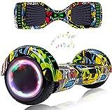 Magic Way Hoverboard - 6.5' - Bluetooth - Motor 700 W - Velocidad 15 km/h - LED - Patinete Eléctrico Auto-Equilibrio - para niños y Adultos - Hiphop